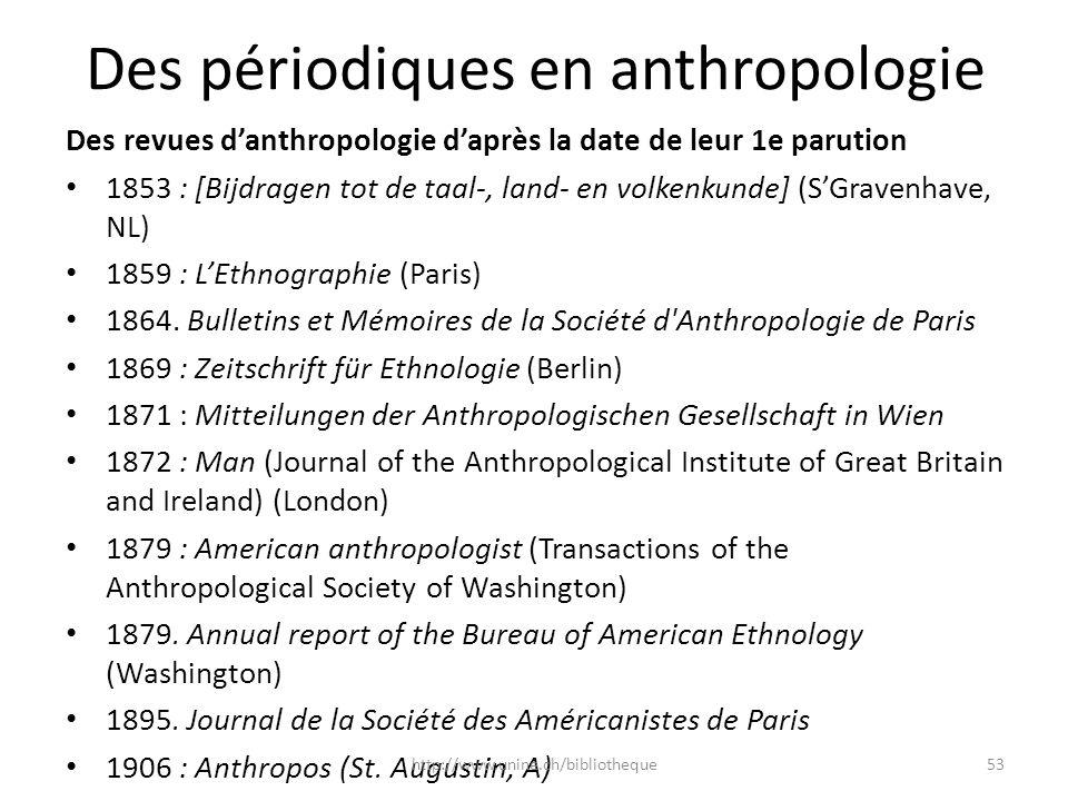 Des périodiques en anthropologie Des revues danthropologie daprès la date de leur 1e parution 1853 : [Bijdragen tot de taal-, land- en volkenkunde] (S