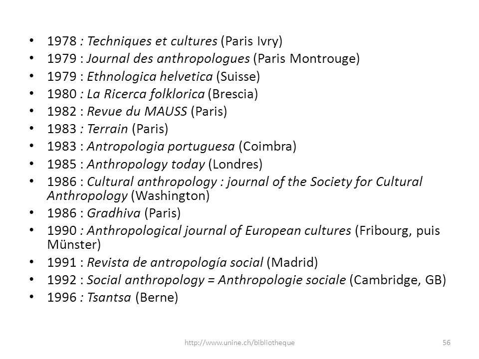 1978 : Techniques et cultures (Paris Ivry) 1979 : Journal des anthropologues (Paris Montrouge) 1979 : Ethnologica helvetica (Suisse) 1980 : La Ricerca