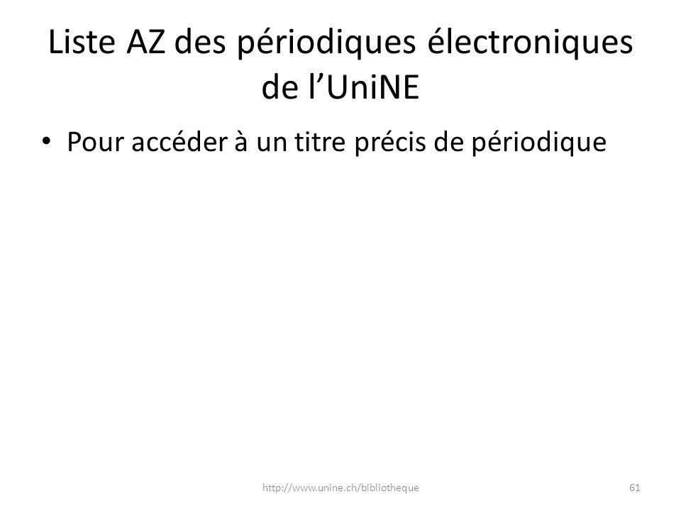 Liste AZ des périodiques électroniques de lUniNE Pour accéder à un titre précis de périodique 61http://www.unine.ch/bibliotheque