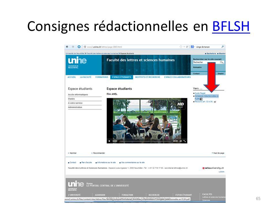 Consignes rédactionnelles en BFLSHBFLSH 65http://www.unine.ch/bibliotheque
