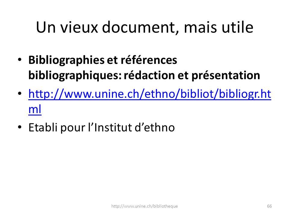 Un vieux document, mais utile Bibliographies et références bibliographiques: rédaction et présentation http://www.unine.ch/ethno/bibliot/bibliogr.ht m