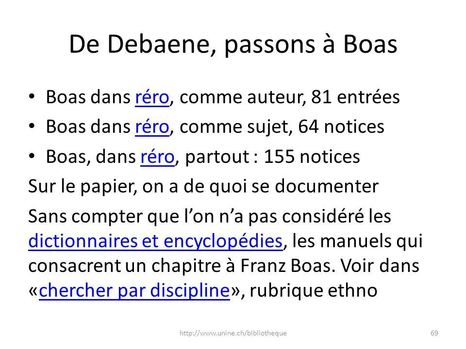 De Debaene, passons à Boas Boas dans réro, comme auteur, 81 entréesréro Boas dans réro, comme sujet, 64 noticesréro Boas, dans réro, partout : 155 not