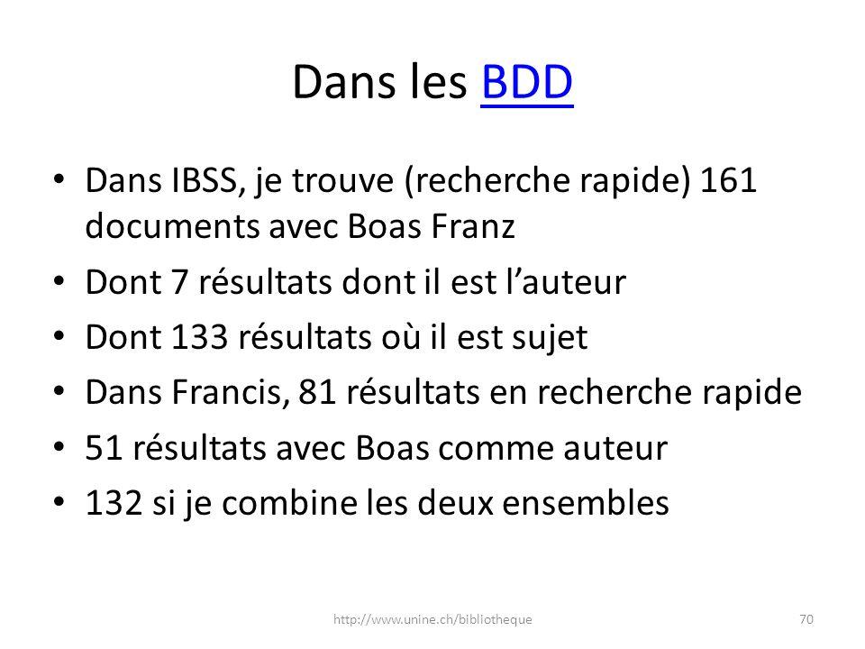 Dans les BDDBDD Dans IBSS, je trouve (recherche rapide) 161 documents avec Boas Franz Dont 7 résultats dont il est lauteur Dont 133 résultats où il es