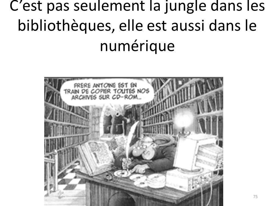Cest pas seulement la jungle dans les bibliothèques, elle est aussi dans le numérique 75http://www.unine.ch/bibliotheque