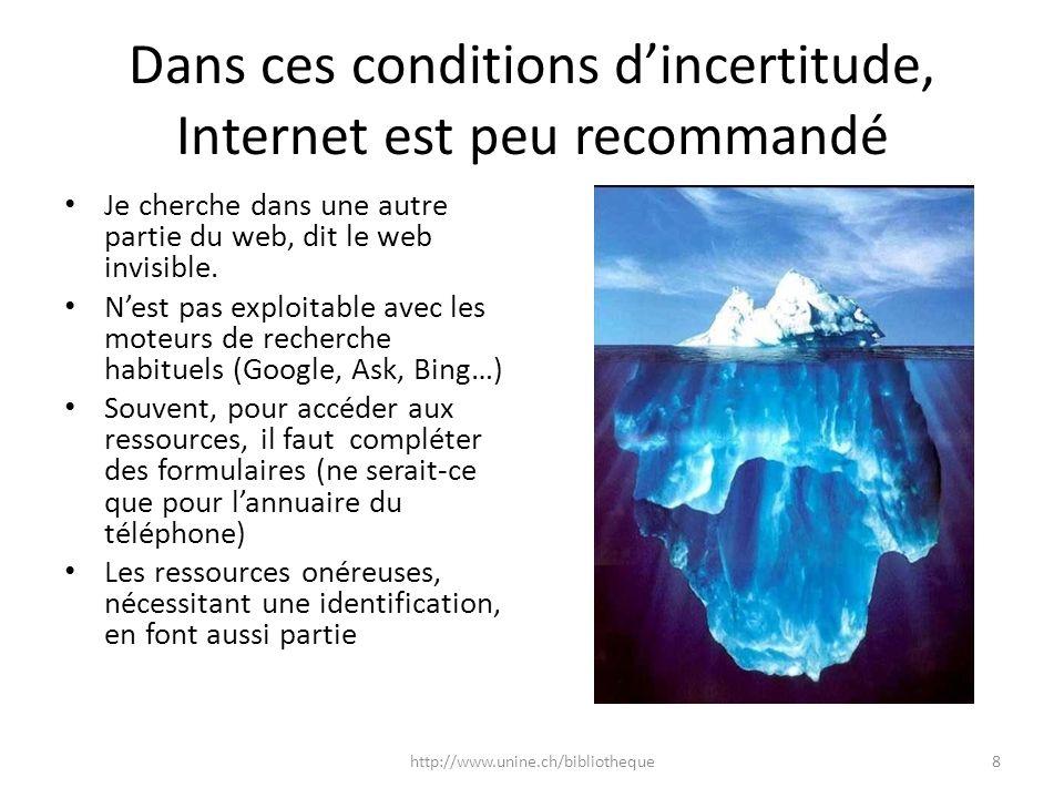 Dans ces conditions dincertitude, Internet est peu recommandé Je cherche dans une autre partie du web, dit le web invisible. Nest pas exploitable avec