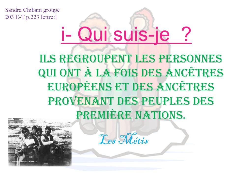Ils regroupent les personnes qui ont à la fois des ancêtres Européens et des ancêtres provenant des peuples des Première Nations. i- Qui suis-je ? Les