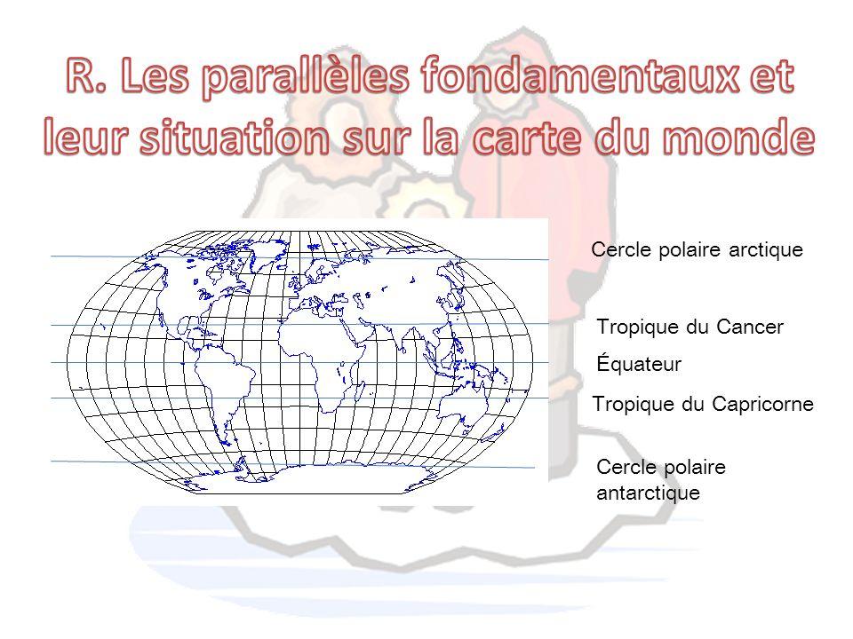 Cercle polaire arctique Tropique du Cancer Équateur Tropique du Capricorne Cercle polaire antarctique