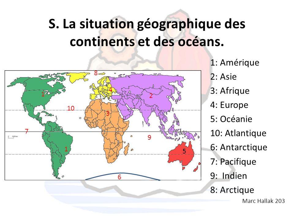 S. La situation géographique des continents et des océans. 1: Amérique 2: Asie 3: Afrique 4: Europe 5: Océanie 10: Atlantique 6: Antarctique 7: Pacifi