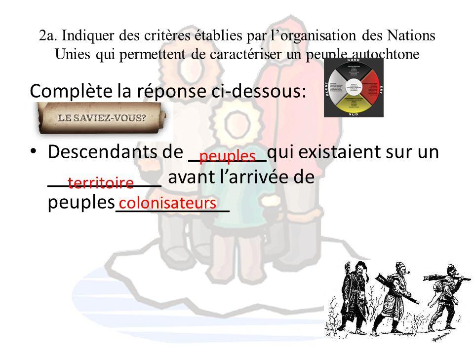 2a. Indiquer des critères établies par lorganisation des Nations Unies qui permettent de caractériser un peuple autochtone Complète la réponse ci-dess