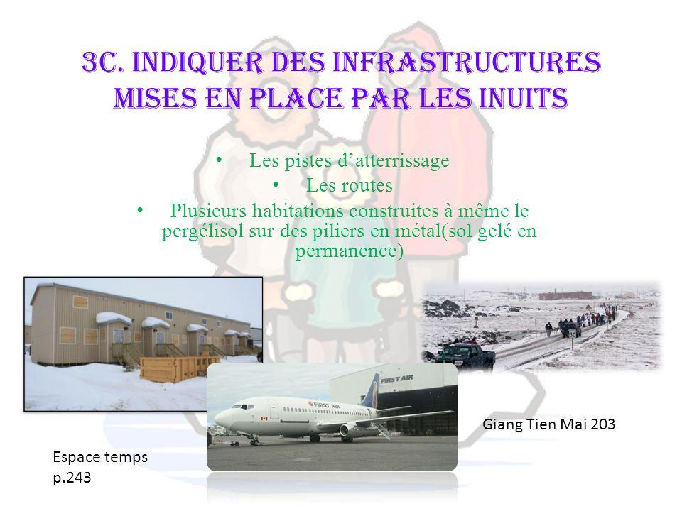 3c. Indiquer des infrastructures mises en place par les Inuits Les pistes datterrissage Les routes Plusieurs habitations construites à même le pergéli