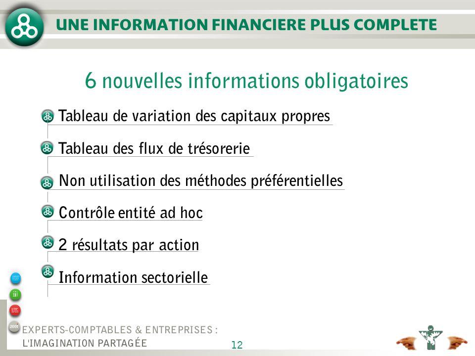 12 UNE INFORMATION FINANCIERE PLUS COMPLETE 6 nouvelles informations obligatoires Tableau de variation des capitaux propres Tableau des flux de trésor