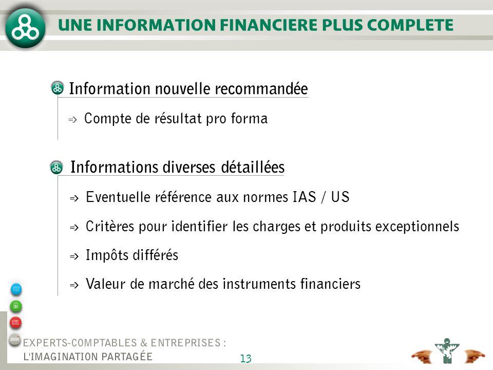 13 Information nouvelle recommandée é Compte de résultat pro forma UNE INFORMATION FINANCIERE PLUS COMPLETE Informations diverses détaillées é Eventue