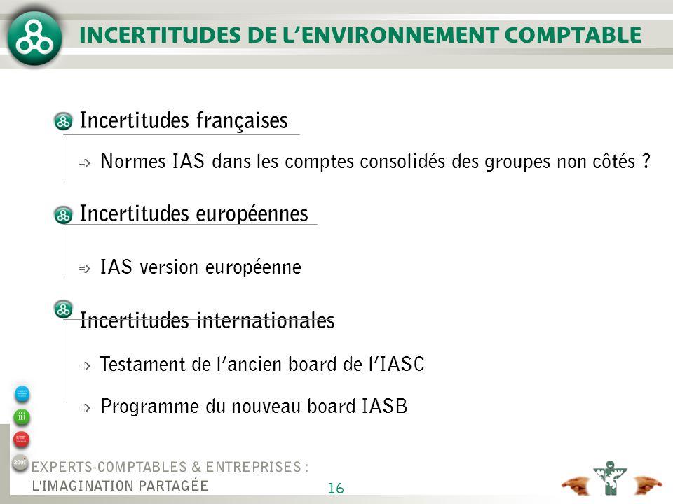 16 INCERTITUDES DE LENVIRONNEMENT COMPTABLE Incertitudes françaises é Normes IAS dans les comptes consolidés des groupes non côtés ? Incertitudes euro