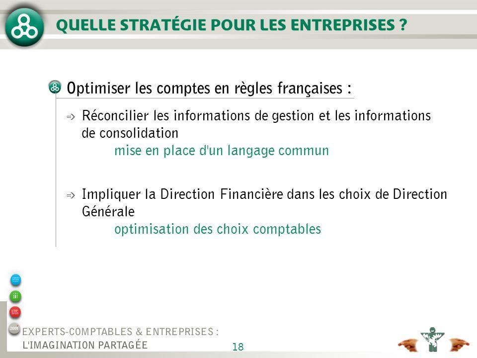 18 QUELLE STRATÉGIE POUR LES ENTREPRISES ? Optimiser les comptes en règles françaises : é Réconcilier les informations de gestion et les informations