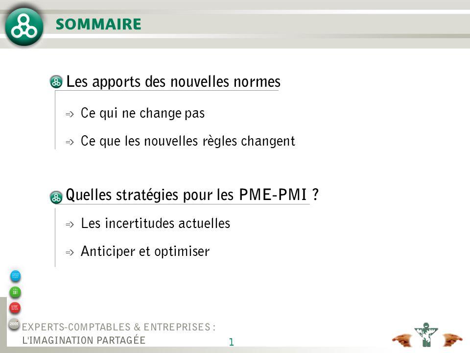 1 SOMMAIRE Les apports des nouvelles normes é Ce qui ne change pas é Ce que les nouvelles règles changent Quelles stratégies pour les PME-PMI ? é Les