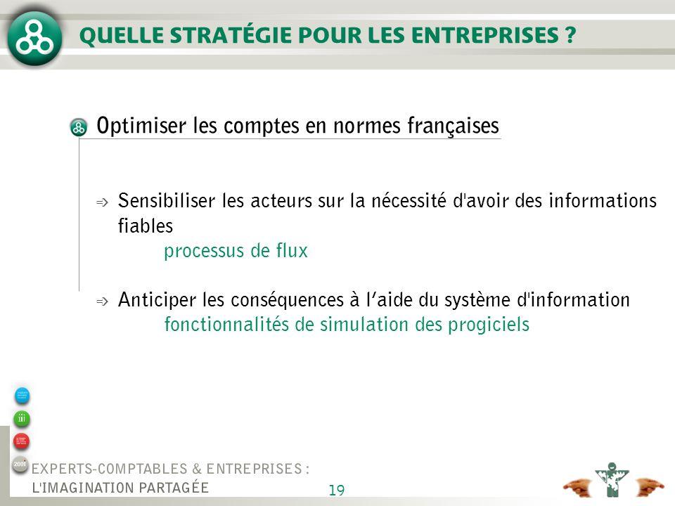19 QUELLE STRATÉGIE POUR LES ENTREPRISES ? Optimiser les comptes en normes françaises é Sensibiliser les acteurs sur la nécessité d'avoir des informat