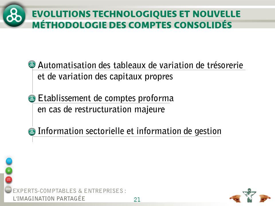 21 EVOLUTIONS TECHNOLOGIQUES ET NOUVELLE MÉTHODOLOGIE DES COMPTES CONSOLIDÉS Automatisation des tableaux de variation de trésorerie et de variation de