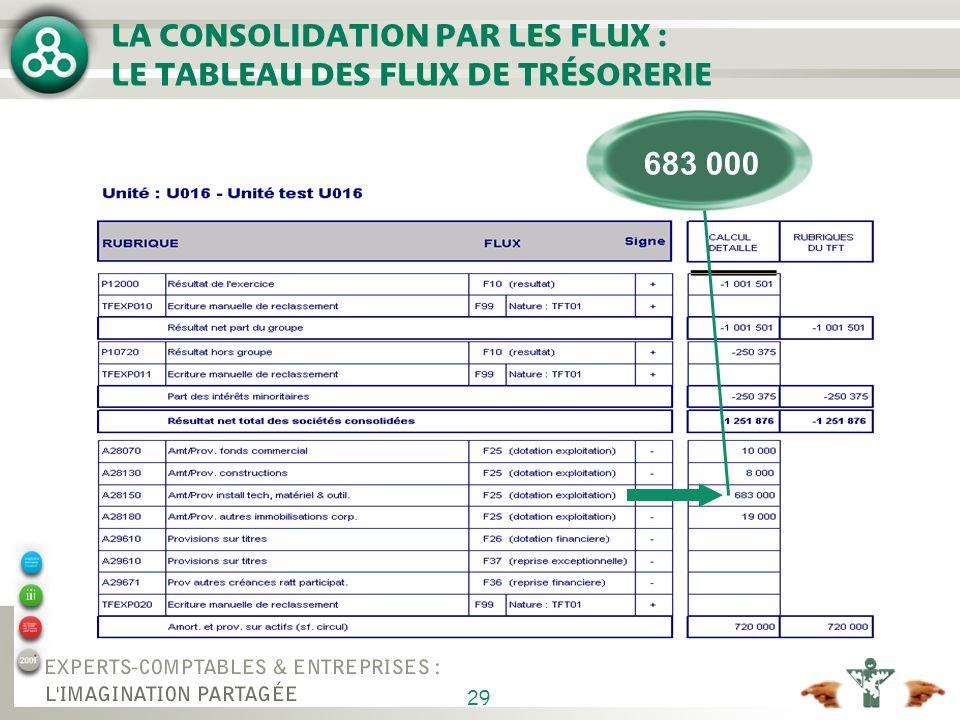 29 LA CONSOLIDATION PAR LES FLUX : LE TABLEAU DES FLUX DE TRÉSORERIE 683 000