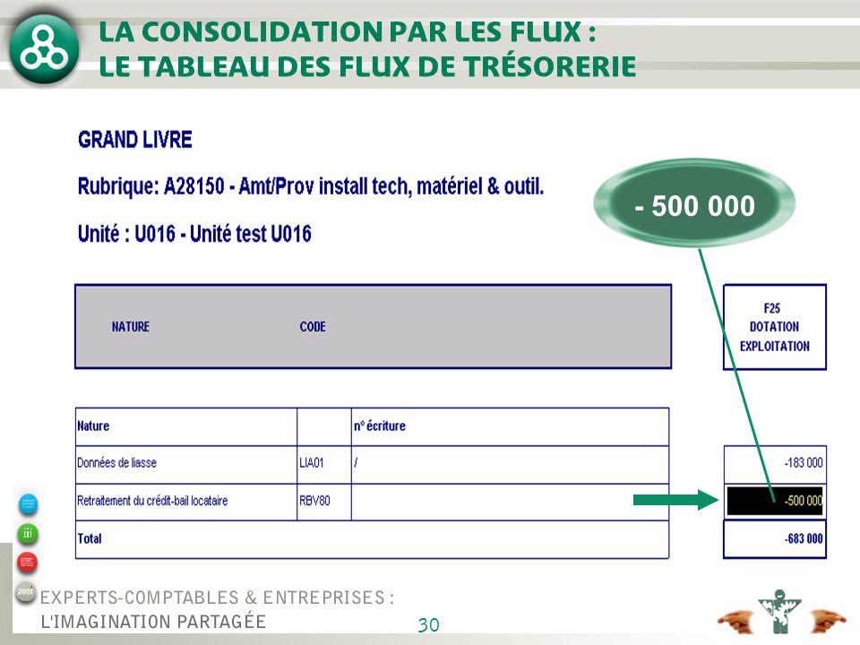 30 LA CONSOLIDATION PAR LES FLUX : LE TABLEAU DES FLUX DE TRÉSORERIE - 500 000