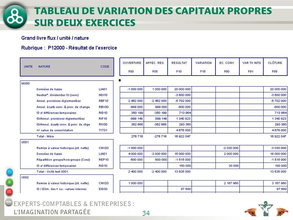 34 TABLEAU DE VARIATION DES CAPITAUX PROPRES SUR DEUX EXERCICES