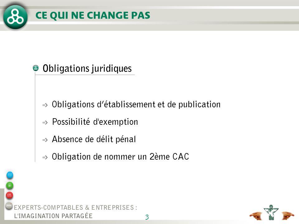 3 Obligations juridiques é Obligations détablissement et de publication é Possibilité d exemption é Absence de délit pénal é Obligation de nommer un 2ème CAC