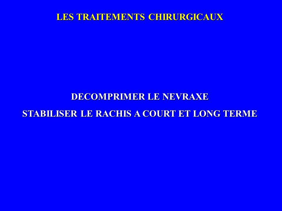 LES TRAITEMENTS CHIRURGICAUX DECOMPRIMER LE NEVRAXE STABILISER LE RACHIS A COURT ET LONG TERME