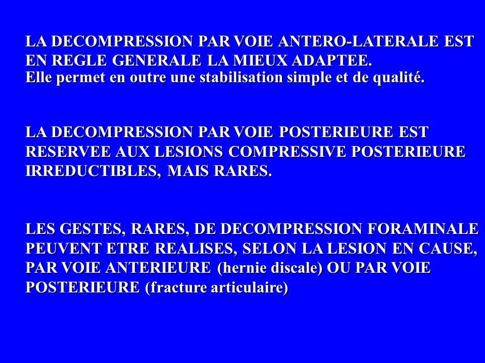 LA DECOMPRESSION PAR VOIE ANTERO-LATERALE EST EN REGLE GENERALE LA MIEUX ADAPTEE. Elle permet en outre une stabilisation simple et de qualité. LA DECO