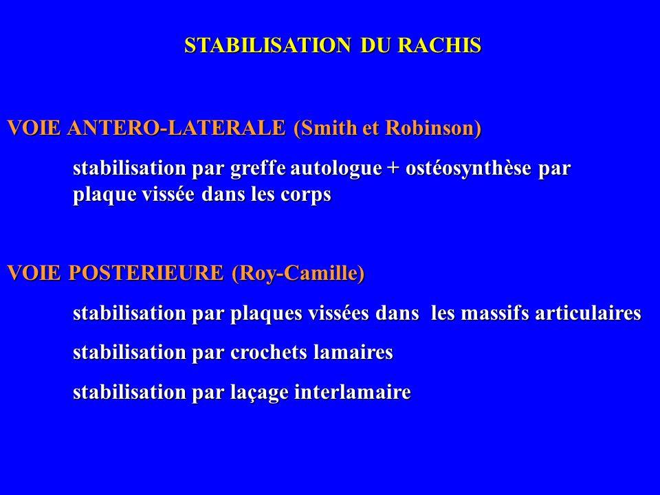 STABILISATION DU RACHIS VOIE ANTERO-LATERALE (Smith et Robinson) stabilisation par greffe autologue + ostéosynthèse par plaque vissée dans les corps V