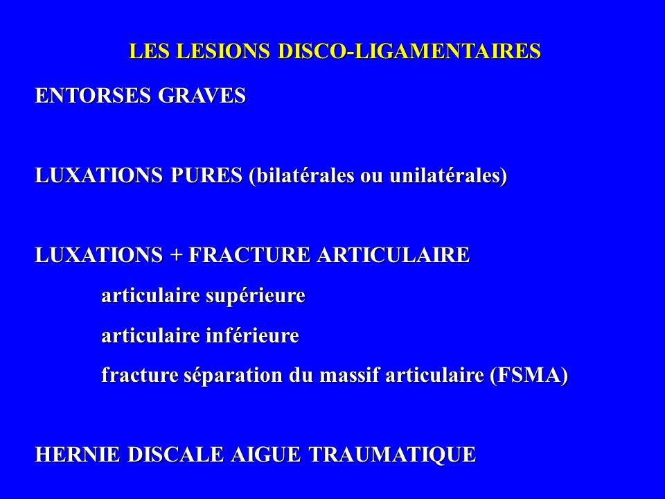 LES LESIONS DISCO-LIGAMENTAIRES ENTORSES GRAVES LUXATIONS PURES (bilatérales ou unilatérales) LUXATIONS + FRACTURE ARTICULAIRE articulaire supérieure
