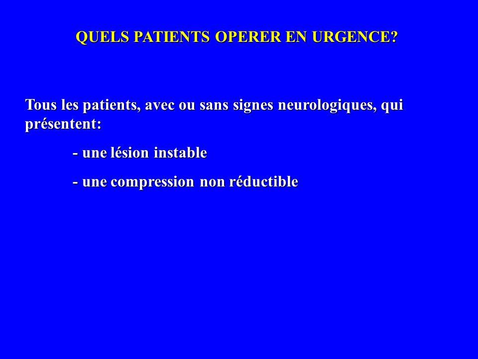 QUELS PATIENTS OPERER EN URGENCE? Tous les patients, avec ou sans signes neurologiques, qui présentent: - une lésion instable - une compression non ré