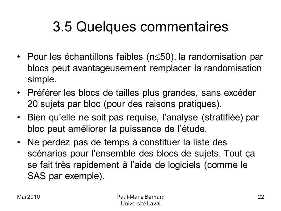 Mai 2010Paul-Marie Bernard Université Laval 22 3.5 Quelques commentaires Pour les échantillons faibles (n 50), la randomisation par blocs peut avantag