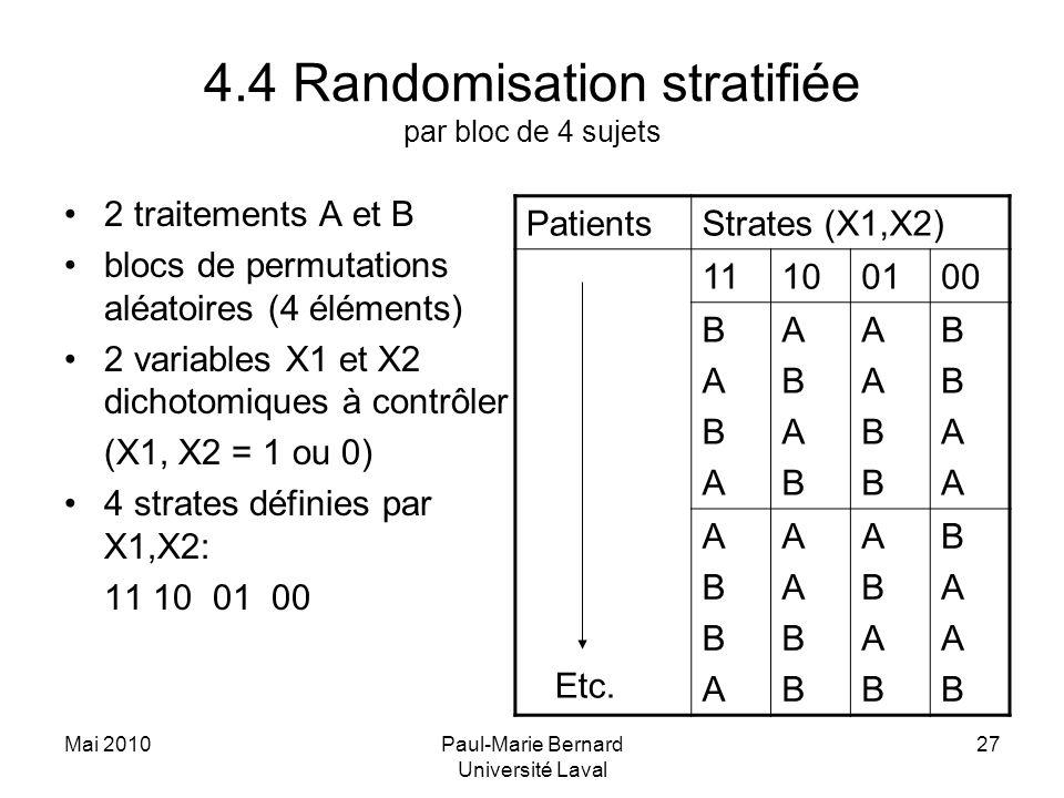 Mai 2010Paul-Marie Bernard Université Laval 27 4.4 Randomisation stratifiée par bloc de 4 sujets 2 traitements A et B blocs de permutations aléatoires