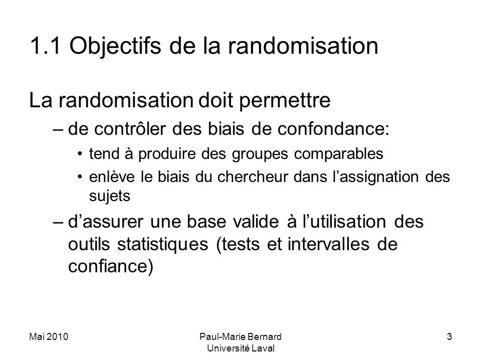 Mai 2010Paul-Marie Bernard Université Laval 3 1.1 Objectifs de la randomisation La randomisation doit permettre –de contrôler des biais de confondance