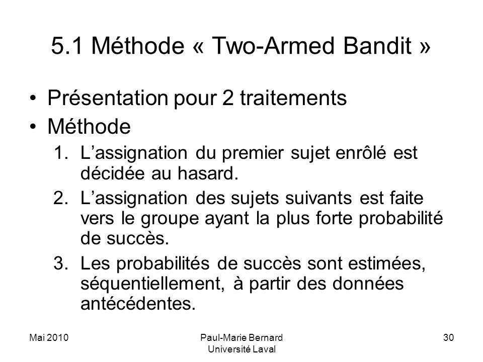 Mai 2010Paul-Marie Bernard Université Laval 30 5.1 Méthode « Two-Armed Bandit » Présentation pour 2 traitements Méthode 1.Lassignation du premier suje