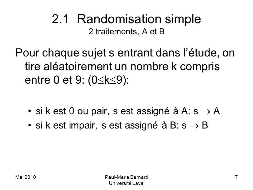 Mai 2010Paul-Marie Bernard Université Laval 7 2.1Randomisation simple 2 traitements, A et B Pour chaque sujet s entrant dans létude, on tire aléatoire