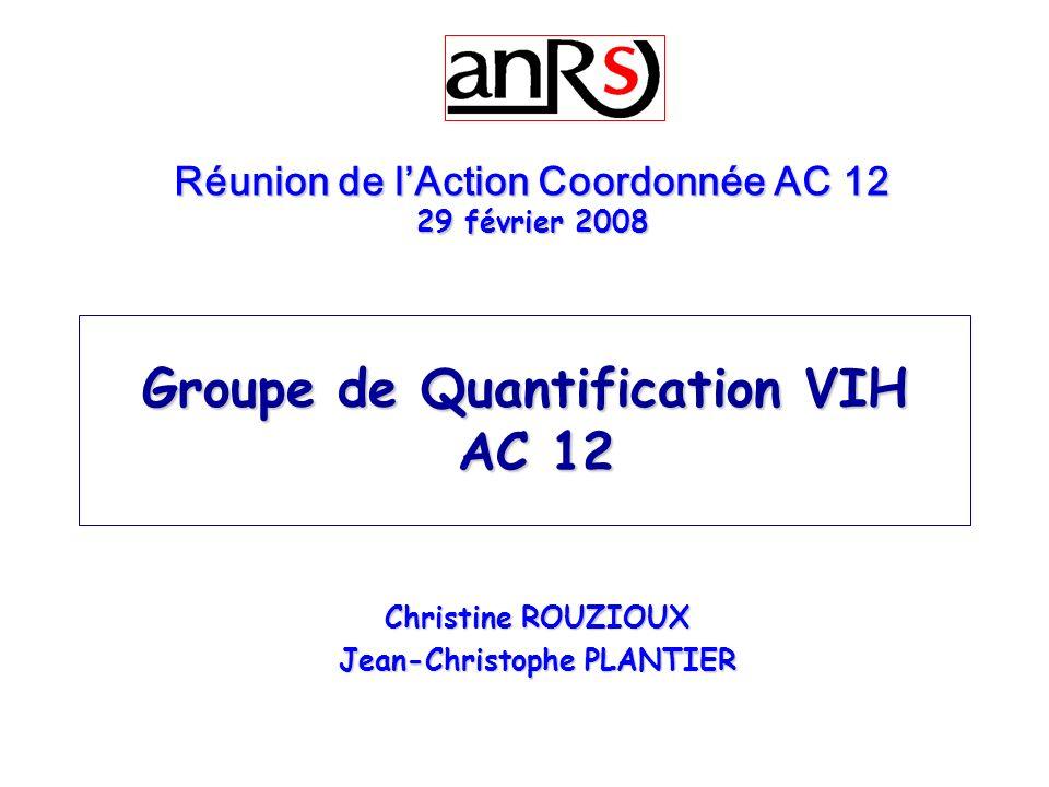 Groupe de Quantification VIH AC 12 Christine ROUZIOUX Jean-Christophe PLANTIER Réunion de lAction Coordonnée AC 12 29 février 2008