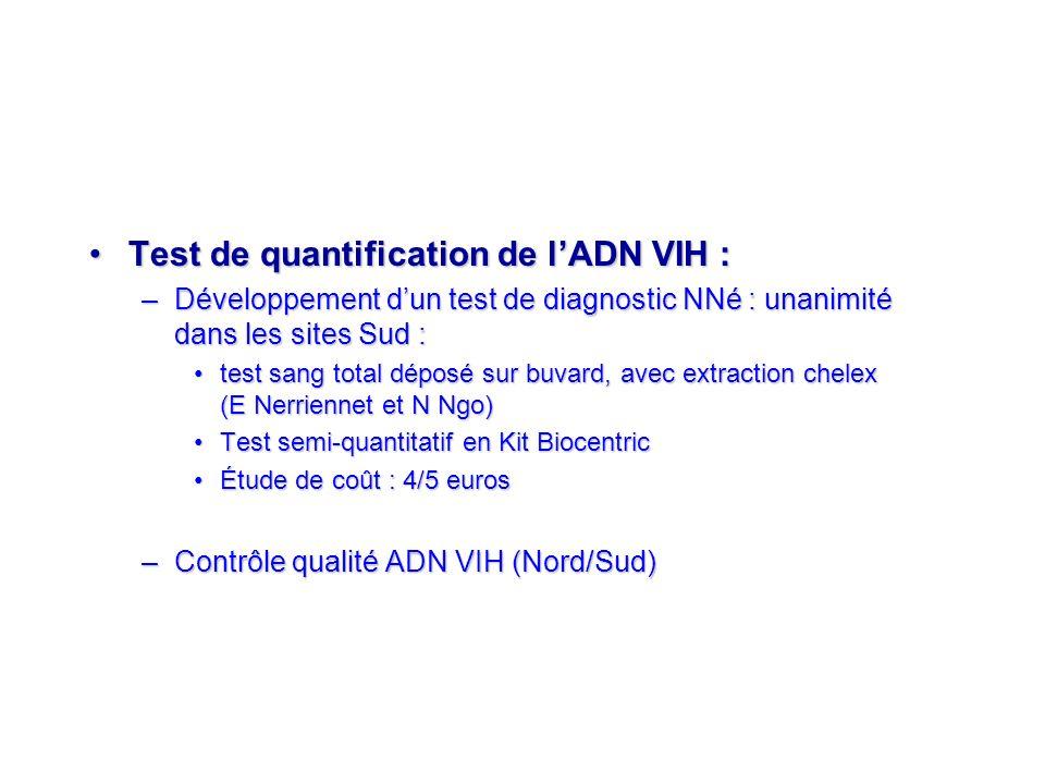 Test de quantification de lADN VIH :Test de quantification de lADN VIH : –Développement dun test de diagnostic NNé : unanimité dans les sites Sud : te