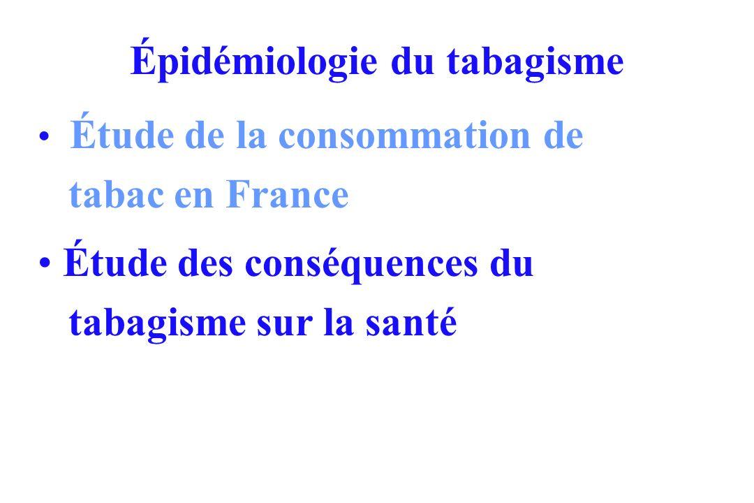 Épidémiologie du tabagisme Étude de la consommation de tabac en France Étude des conséquences du tabagisme sur la santé