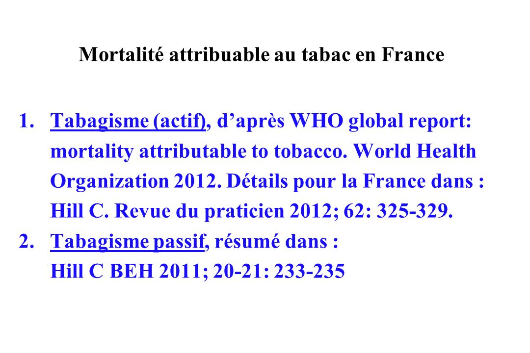 Mortalité attribuable au tabac en France 1.Tabagisme (actif), daprès WHO global report: mortality attributable to tobacco. World Health Organization 2