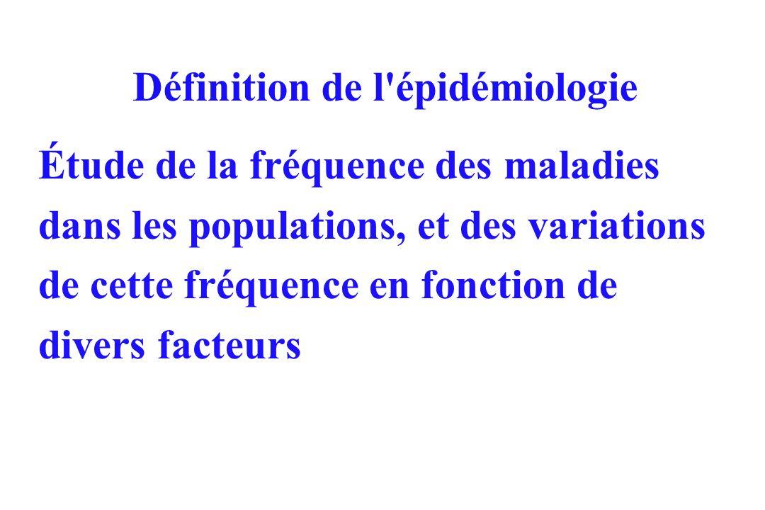 Définition de l'épidémiologie Étude de la fréquence des maladies dans les populations, et des variations de cette fréquence en fonction de divers fact