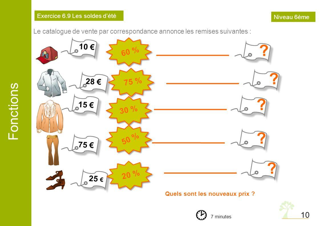 Fonctions 10 Le catalogue de vente par correspondance annonce les remises suivantes : Quels sont les nouveaux prix ? 7 minutes Exercice 6.9 Les soldes