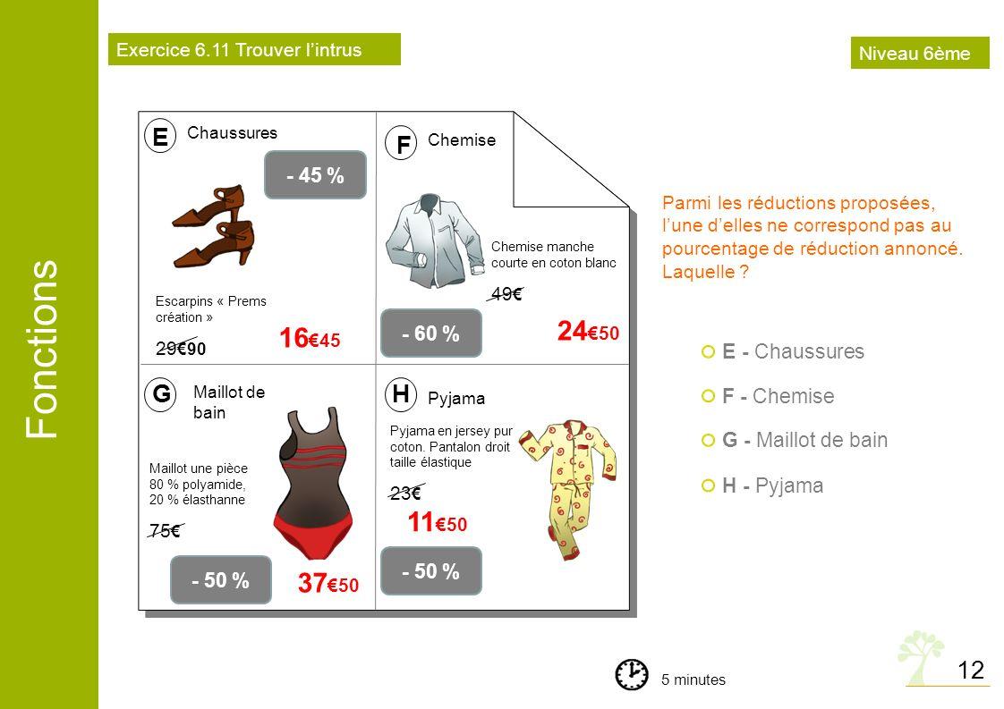 Fonctions 12 - 45 % Escarpins « Prems création » 29 90 16 45 E F Chaussures Chemise - 60 % Chemise manche courte en coton blanc 49 G Maillot de bain -