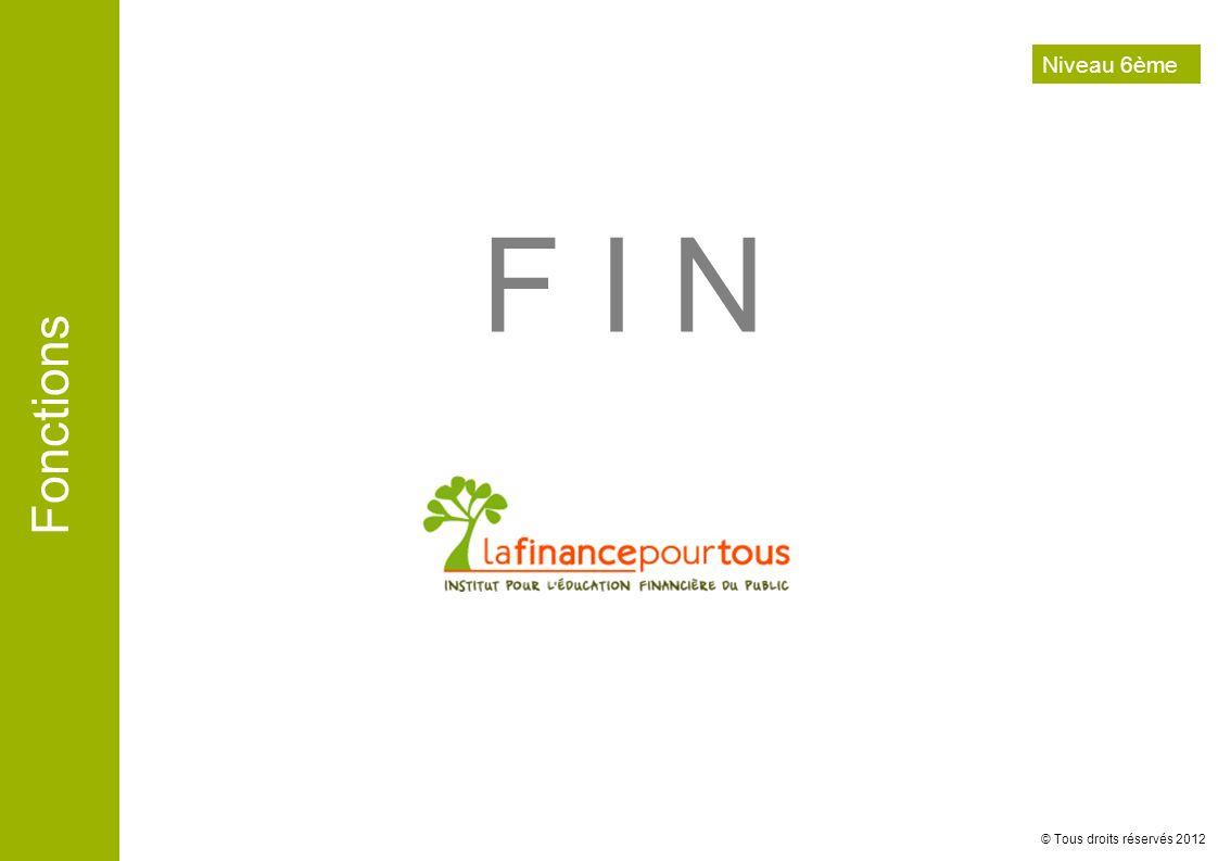 Fonctions © Tous droits réservés 2012 F I N Niveau 6ème