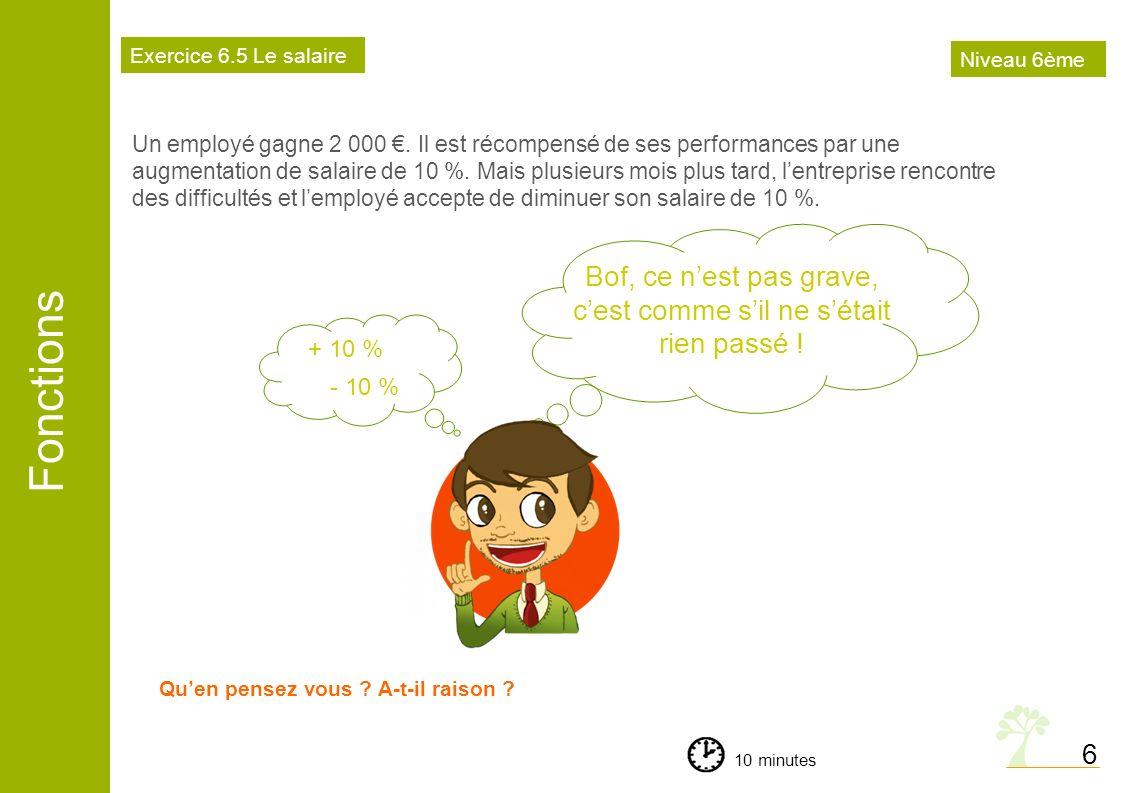 Fonctions 6 Un employé gagne 2 000. Il est récompensé de ses performances par une augmentation de salaire de 10 %. Mais plusieurs mois plus tard, lent