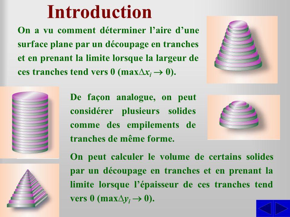Introduction On a vu comment déterminer laire dune surface plane par un découpage en tranches et en prenant la limite lorsque la largeur de ces tranch