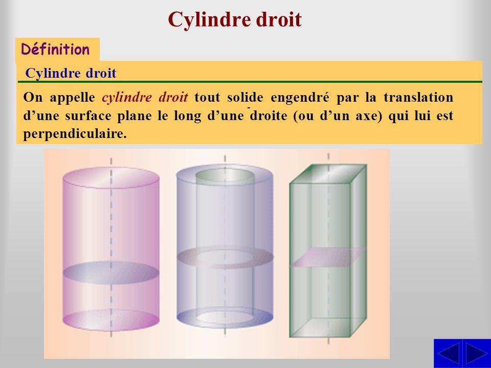 Cylindre droit S - Définition Cylindre droit On appelle cylindre droit tout solide engendré par la translation dune surface plane le long dune droite