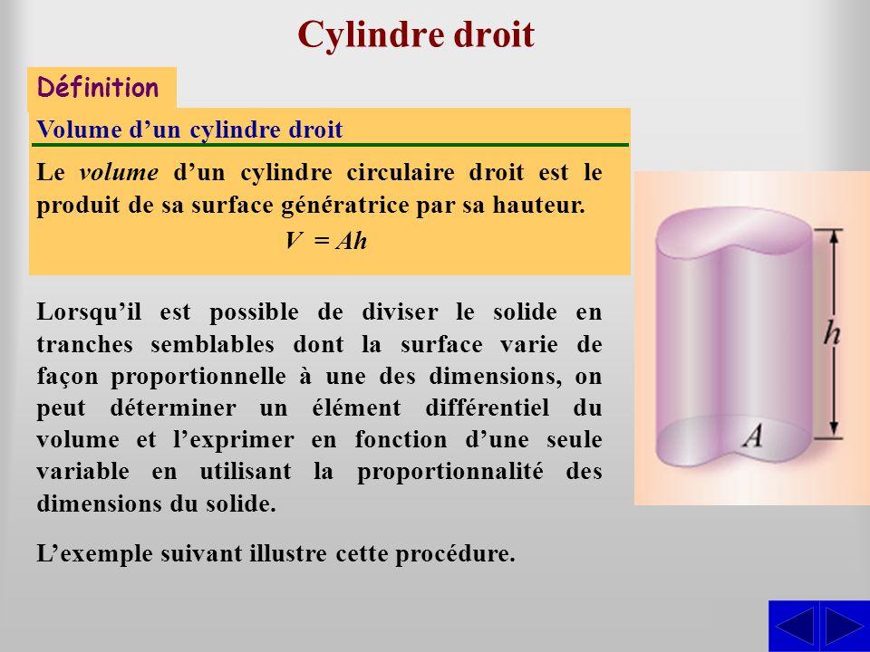 Cylindre droit S - Définition Volume dun cylindre droit Le volume dun cylindre circulaire droit est le produit de sa surface génératrice par sa hauteu