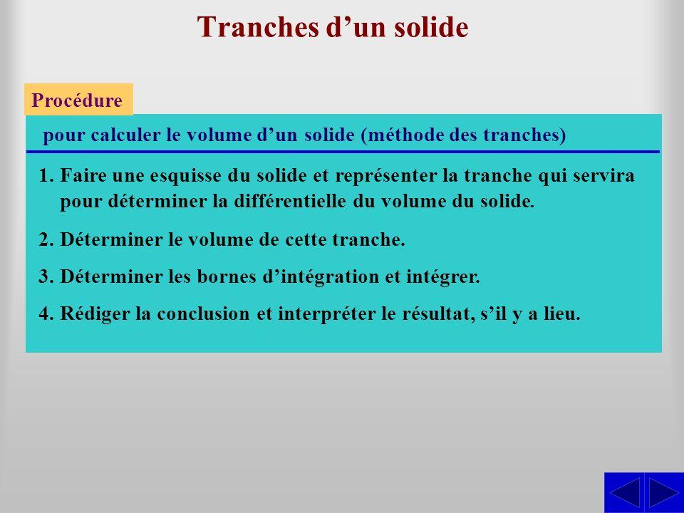 Tranches dun solide Procédure pour calculer le volume dun solide (méthode des tranches) 1.Faire une esquisse du solide et représenter la tranche qui s