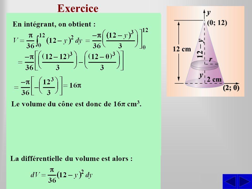 Exercice SS Déterminer le volume du cône droit dont le rayon de la base est de 2 cm et la hauteur est de 12 m. Construisons un système daxes de telle