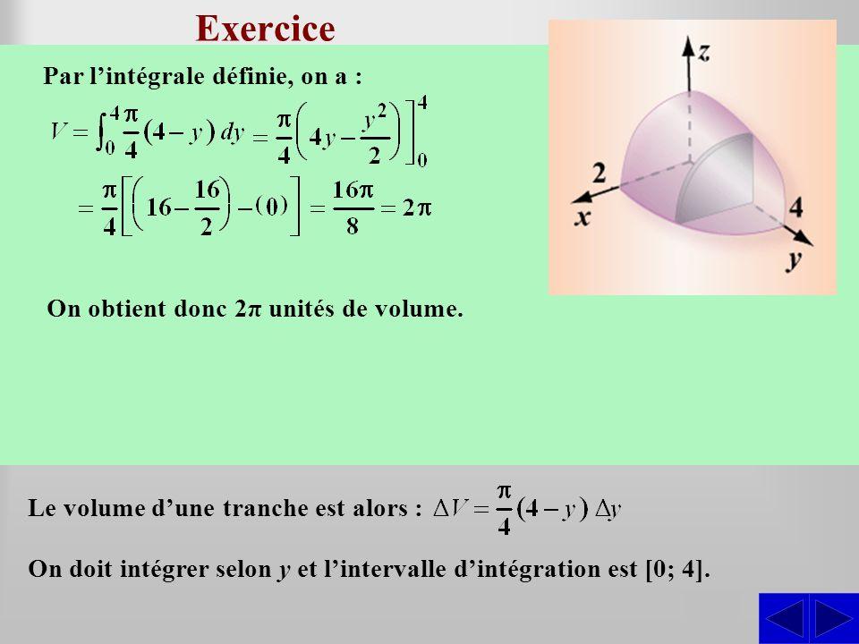 Exercice SS La base du solide illustré, dans le plan Oxy, est la courbe définie par y = 4 – x 2. Les sections transversales perpendiculaires à la base